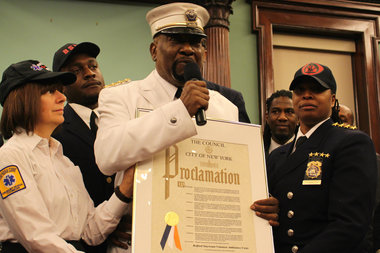 Members of the Bedford-Stuyvesant Volunteer Ambulance Corps received special recognition from the city for their services as first responders in the deadly shootings of two NYPD officers in December.