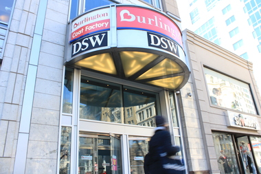 A man fleeing DSW with stolen sneakers knocked over a little girl, giving her a black eye and concussion, police said.