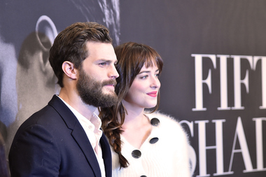 """Fifty Shades of Grey"" stars Jamie Dornan and Dakota Johnson attend a screening of the film in New York City on Feb. 6."