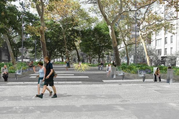 A new park in Hudson Square would increase the area's ability to mitigate flooding by 1,140 percent, but require the removal of a Citibike dock.