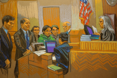 Abdurasul Hasanovich Juraboev, 24, and Akhror Saidakhmetov, 19, were arraigned in Brooklyn federal court after being accused of trying to travel to Syria to join ISIS, Feb. 25, 2015.