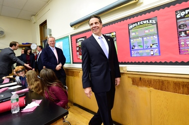 Gov. Andrew Cuomo has taken a hit in the polls because of his proposed education reforms, according to a new Quinnipiac University poll.Here, Cuomo tours a Long Island middle school in October 2014.