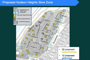 The DOT plans to designate Hudson Heights a slow zone and install a crosswalk on Bennett Avenue.