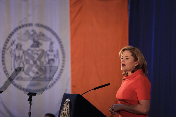 City Council Speaker Melissa Mark-Viveirto will call for New York City to cooperate even less with immigration authorities during her final State of the City speech in Brooklyn Thursday. Here, she gives her State of the City speech in 2015.