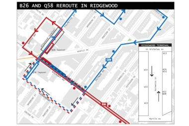 The MTA is proposing a plan to reroute two buses at the Myrtle Avenue, Wyckoff Avenue and Palmetto Street intersection.