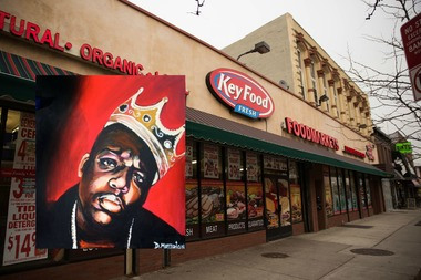 Street artist Danielle Mastrion is planning to paint a Biggie Smalls mural on the outside wall of Key Food Market in Clinton Hill where the famous rapper once worked.