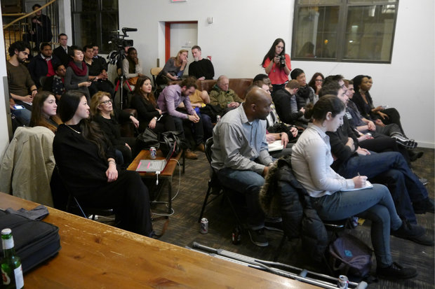 A group of about 70 people gathered at Harlem Garage to talk about different ways of getting into the cannabis industry.