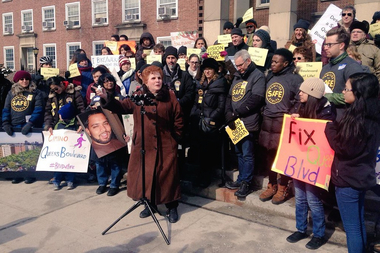 Councilwoman Karen Koslowitz joined a rally Saturday pushing for a redesign of Queens Boulevard.