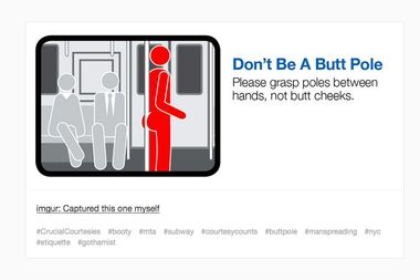 A mock subway etiquette campaign pokes fun at the subway ads.