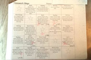P.S. 116 rolled out a new homework policy this year in the form of bingo charts (pictured).
