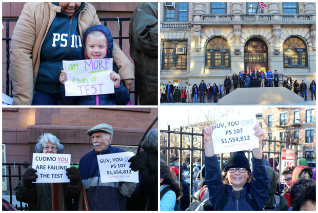 Parents at P.S. 107, P.S. 321, P.S. 10 and several other schools rallied Thursday morning.