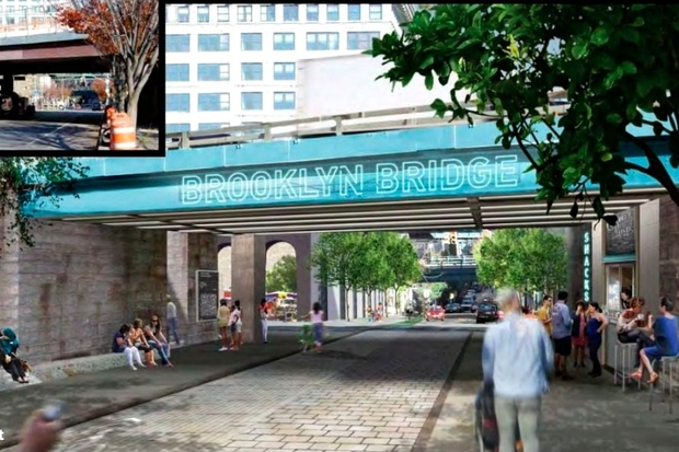 "The ""Brooklyn Strand"" plan includes market space under the bridge between DUMBO and Downtown Brooklyn."