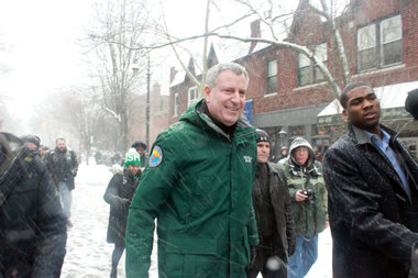 Mayor Bill de Blasio arrives at the St. Pats for All parade in Sunnyside on March 1, 2015.