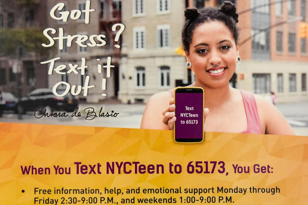 Mayor Bill de Blasio's daughter  Chiara de Blasio  is the face of a new mental health campaign aimed at teens from 10 city high schools that allows them to text to receive information about dealing with depression.