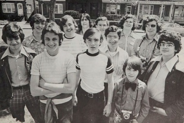 This is a picture taken in 1974 of the Xaverian High School yearbook students.
