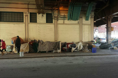 Homeless encampment under Metro North tracks that run along Park Avenue.