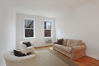 The living room at 415 E. 80th St., Apt. 3B, a one-bedroom that recently hit the market for $399,000.