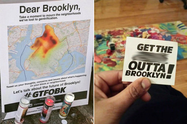 An anonymous group is promoting #GTFOBK to start a conversation on social media about gentrification in Brooklyn.