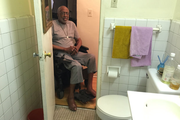 The retired teacher and guidance counselor has not been able to use his bathroom or kitchen since 2010.