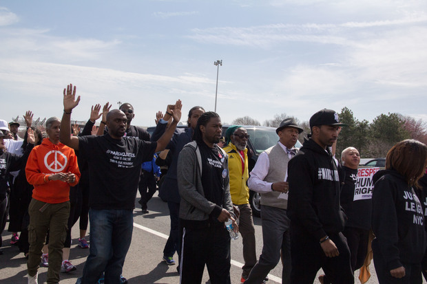 Protesters marched across the Outerbridge Crossing on Monday, April 13, 2015, to protest police brutality.