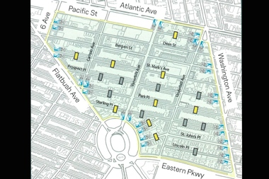 A DOT proposal for a slow zone in Prospect Heights includes a 20-mile-per-hour speed limit, nine speed bumps (marked in yellow) and new street signs.
