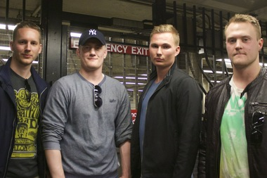 Erik Näslund, 26, Samuel Kvarzell, 25, Makrus Åsberg, 25, and  Eric Jansberger, 28, helped break up a fight in a crowded 6 train on Wednesday.