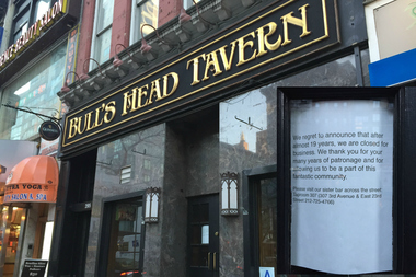Bull's Head Tavern, located at 295 Third Ave. closed April 21, according to a flier posted on the bar's doors.