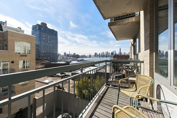 Brooklyn apartments with views of the East River bridges and Manhattan skyline.