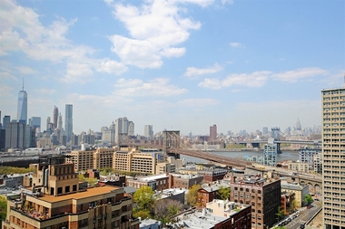 The skyline view from an apartment in Brooklyn Heights.