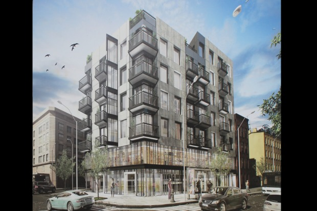 A seven-story apartment rental building on Flushing Avenue is expected to be finished in summer 2016.