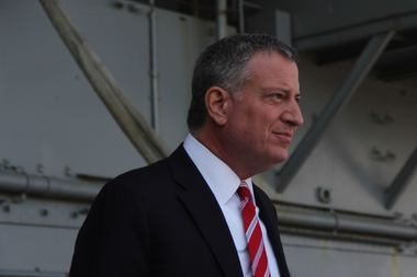 Mayor Bill de Blasio at the Intrepid May 25.