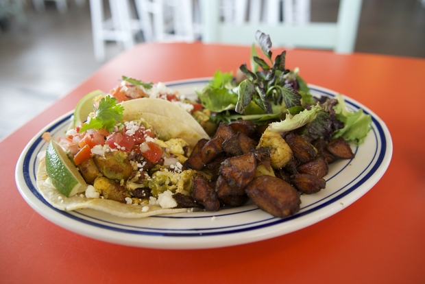 The new menu at the Playland Motel features breakfast like these chorizo-stuffed tacos.