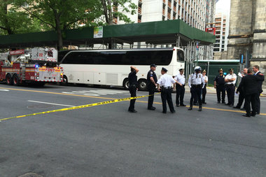 A tour bus struck and killed a pedestrian near West 113th Street and Amsterdam Avenue Wednesday afternoon, police said.