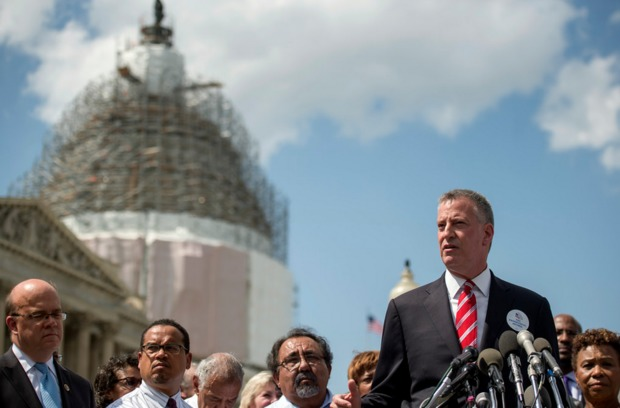 Mayor Bill de Blasio unveils The Progressive Agenda campaing in Washington D.C. on May 13, 2015.