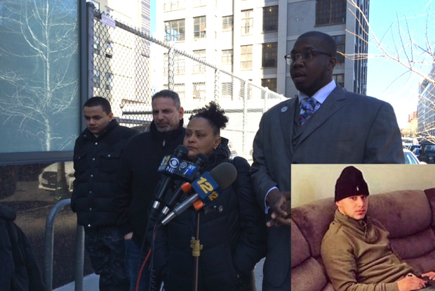 Photo from left to right Gilbert Drogheo's younger brother, his uncle Luis Drogheo, his mother Linda Rodigrez and Rev.Kevin McCall from National Action Network at a press conference on March 12,2015. Bottom right: Gilbert Drogheo.