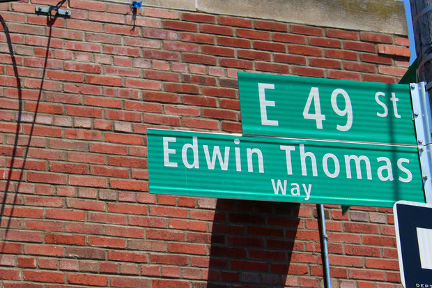 Officials co-named a street near the Flatbush Bus Depot after Edwin Thomas, a B46 bus driver killed while on the job.