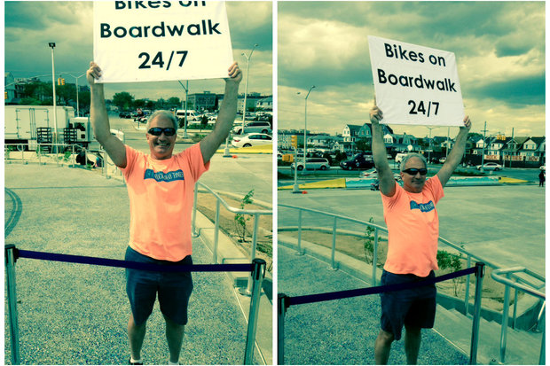 Rick Horan brought a sign about bike lane access to the new Rockaway boardwalk unveiling, but was told he had to stand in a