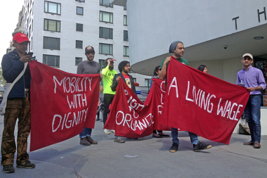 Demonstrators occupied the Guggenheim Museum on May Day to protest the treatment of workers building their new location in Abu Dhabi, May 1, 2015.