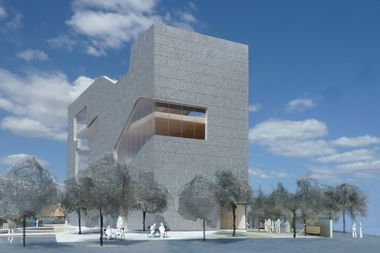 A rendering of the plans for the Hunters Point Library Branch of Queens Library, by architect Steven Holl.