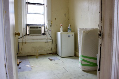 The mold in the bedroom of this East Village apartment forced the tenant to sleep in the living room.