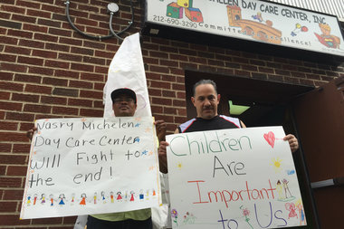 Parents of children at the daycare protested the defunding outside Nasry Michelen Day Care in May. The center is set to open in a new, smaller, space by the end of September.
