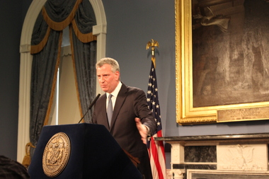 Mayor de Blasio hopes to spur affordable housing through a mansion tax and reform of 421a tax benefits.