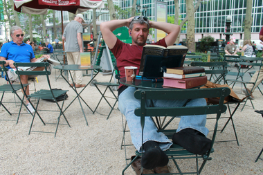 Ron Galunas, who delivers newspapers, said he likes to read outside after work.