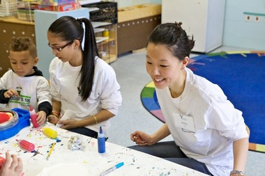 Pre-K students and teachers work on an art project at the Washington Heights/Inwood Nagle Avenue Y.