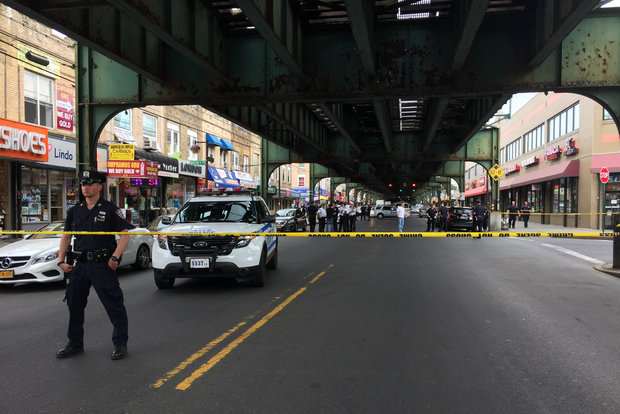 The person was shot on Roosevelt Avenue near Whitney Street, police said.