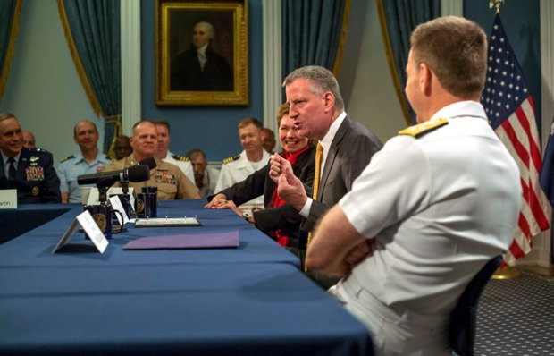 Some New York City veterans groups said that after almost a year and a half in office, Mayor Bill de Blasio has not taken the time to meet with them to hear issues directly from the groups who interact regularly with veterans from around the five boroughs. Here, de Blasio speaks at a veteran's roundtable discussion at City Hall Thursday.