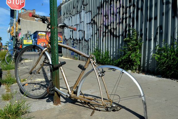 """They tend to look like abstract sculptures sometimes it's just one piece, sometimes it's just the frame and or one tire,"" said Adel Souto who documents abandoned bikes on his blog  Forgotten Rides ."