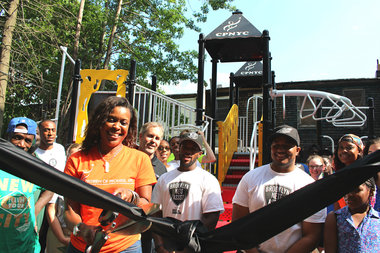 The Children of Promise center on MacDonough Street received a new playground donated by Wingstop, The Brooklyn Nets, and KaBOOM!
