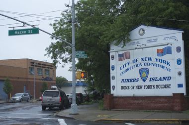The entrance to Rikers Island and a neighboring Corizon building.