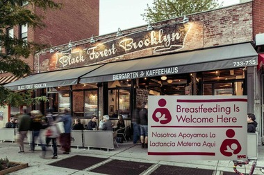 Black Forest Brooklyn posted a sign in their window welcoming new mothers to breastfeed.